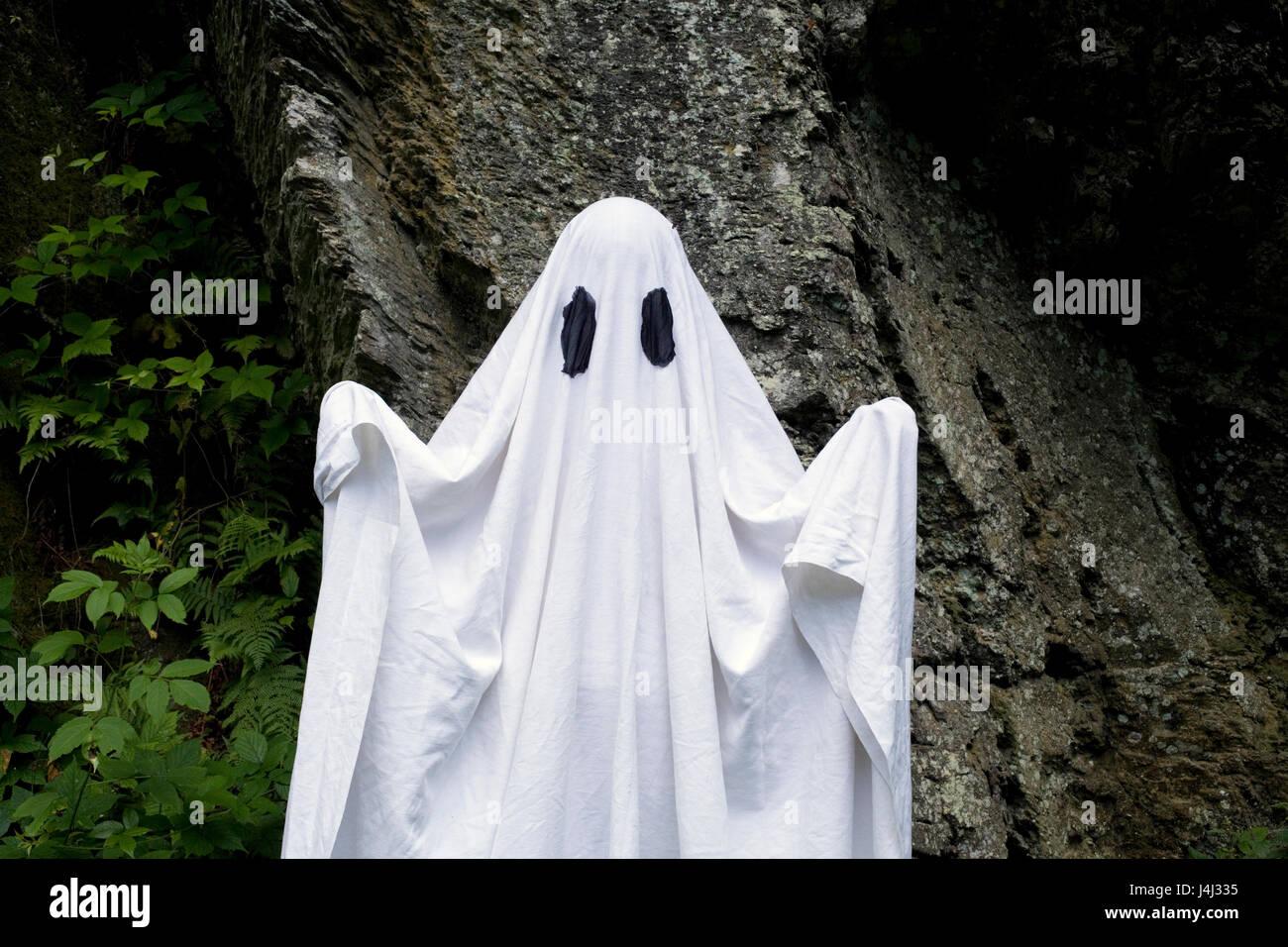 Un spooky fantasma bianco coperto da un foglio con feritoie sopra gli occhi  in piedi di fronte a una roccia. 4ea6cbaa015c