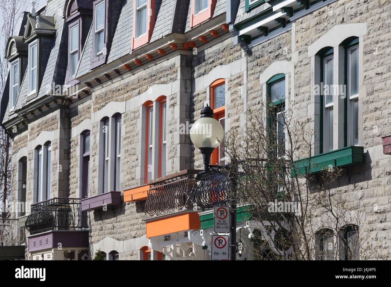 L'architettura residenziale nel Plateau Mont-Royal quartiere, Montreal, Quebec, Canada Immagini Stock