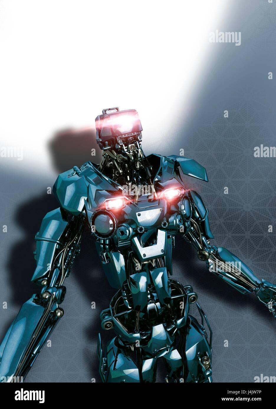 Robot, illustrazione. Immagini Stock