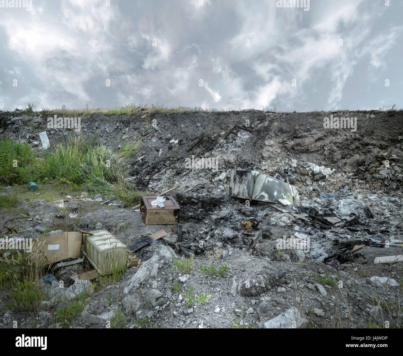 Abbandonati i terreni industriali. Immagini Stock