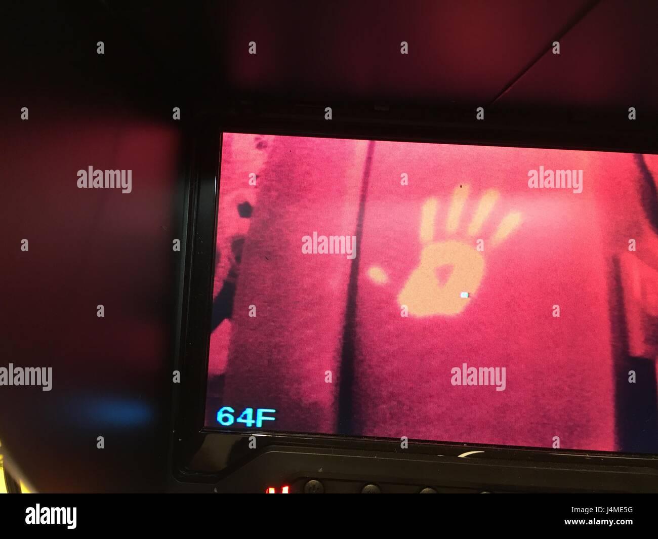 Immagine latente di un interruttore termico di stampa a mano Immagini Stock