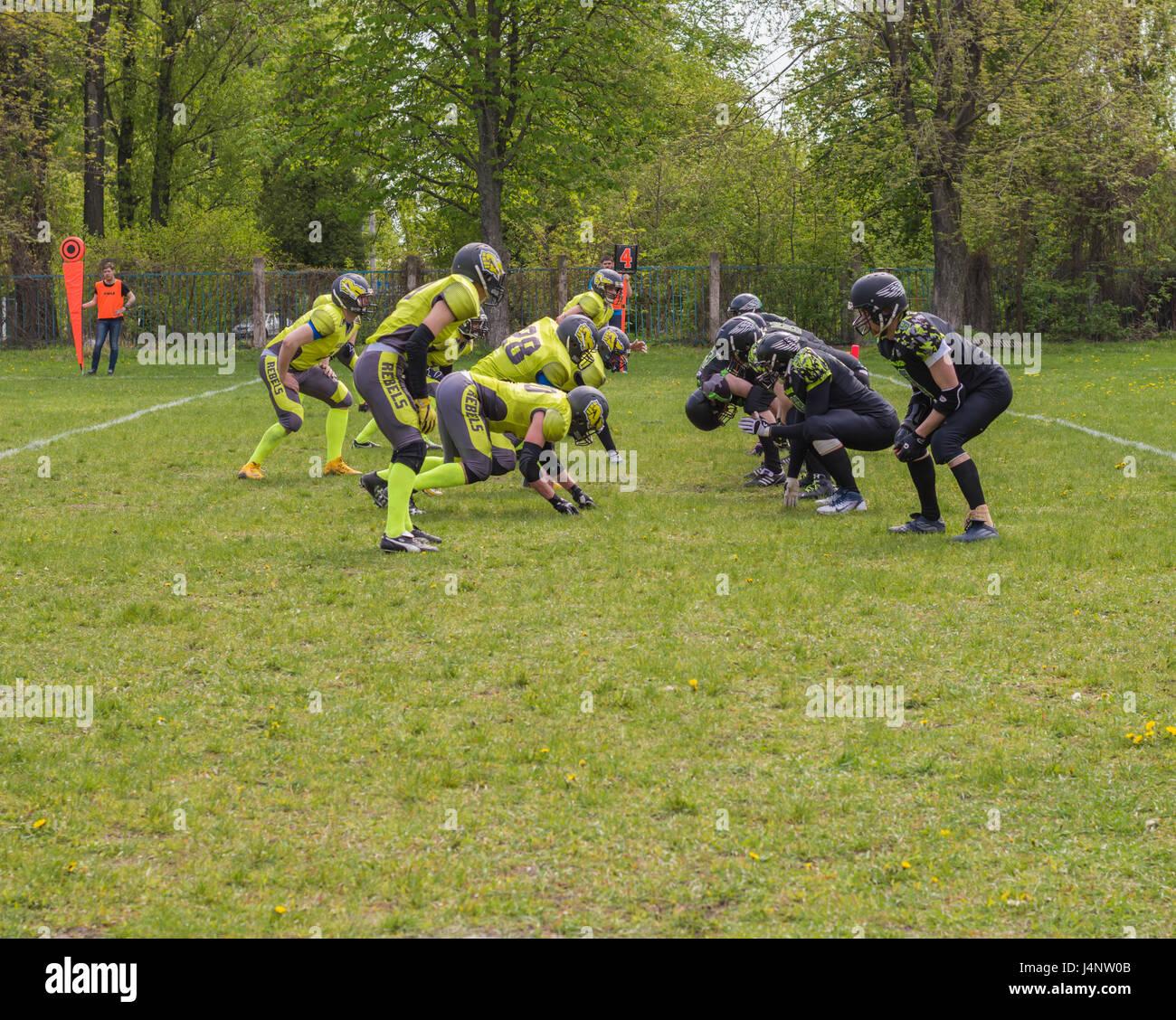 Squadre di calcio pronto a scattare Immagini Stock