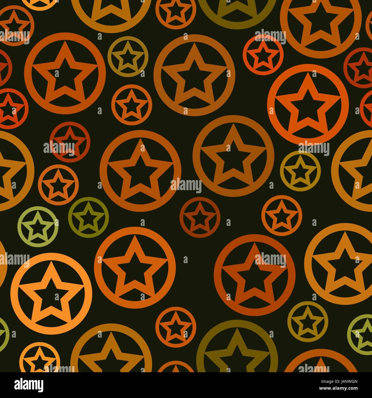 Vector Pattern Senza Giunture Arancione E Verde Stelle In Cerchio