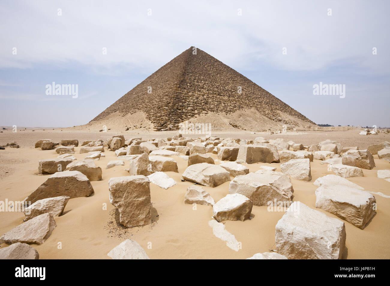 La piramide rossa del faraone Snofru, Egitto, Dahschur, Immagini Stock