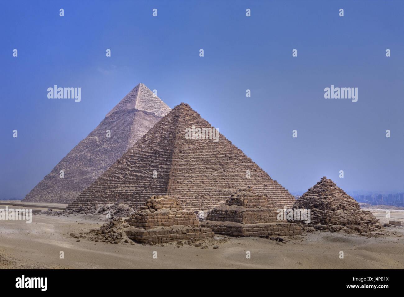 Piramidi di Giza in Egitto, al Cairo, Immagini Stock