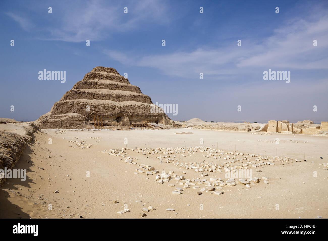 Passo piramide Sakkara del faraone Djoser, Egitto, Sakkara, Immagini Stock