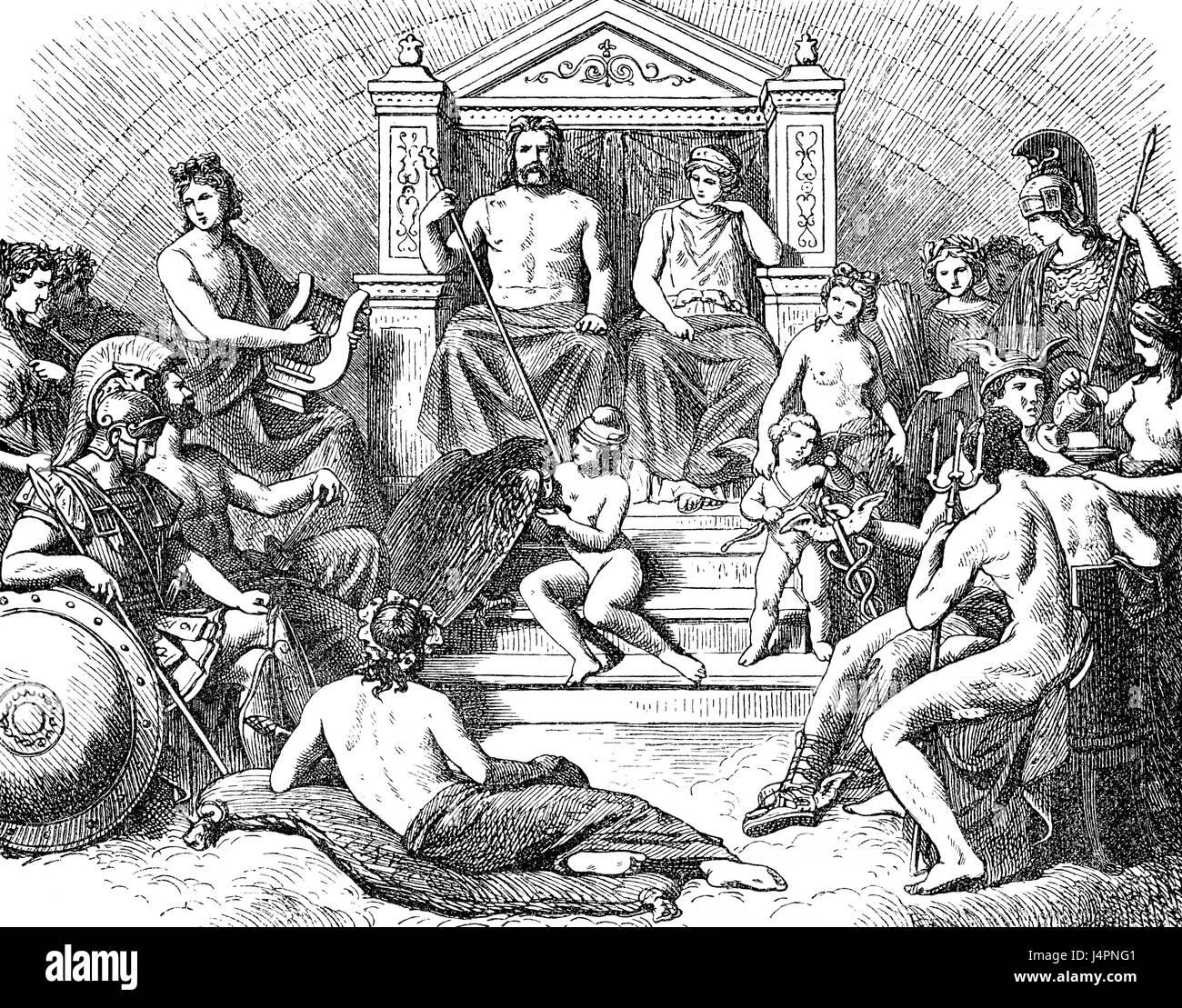 Olympian dèi, antica religione greca Immagini Stock