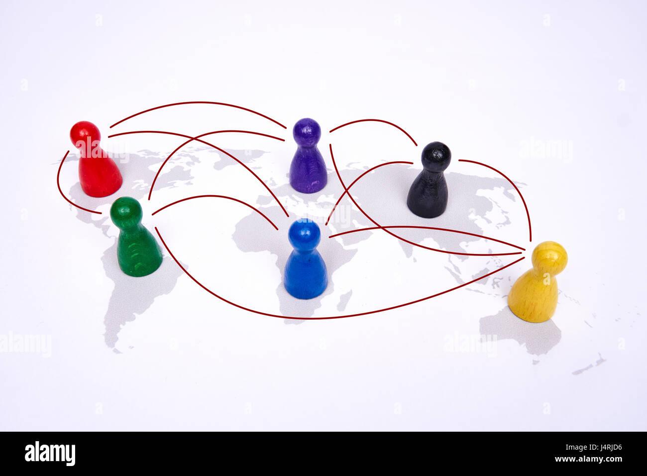 Concetto di globalizzazione, global business, viaggi o connessione globale. Le figure colorate con linies di collegamento. Immagini Stock