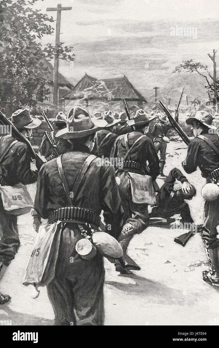 Resistenza tra le case del malato - Volontari dal primo California in conflitto con la resistenza - 1899 Immagini Stock