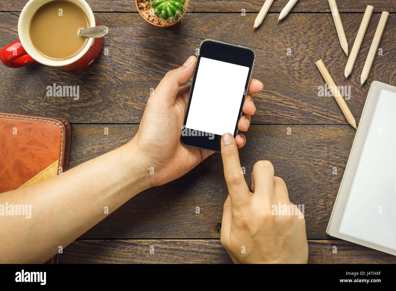 Vista Superiore Business Man Tramite Telefono Cellulare E Matita