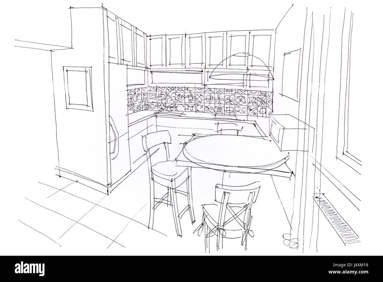 Sala Da Pranzo Disegno.Disegnato A Mano Disegno Monocromatico Di Sala Da Pranzo