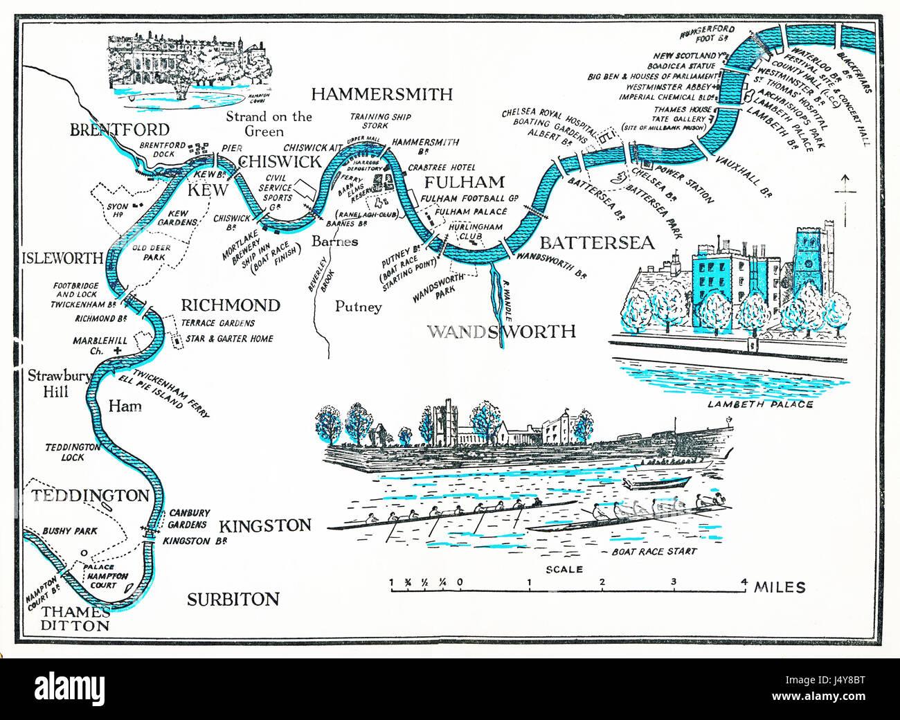 Mappa di canottaggio sul Tamigi, 1955 piano illustrato del Fiume Tamigi come esso si snoda attraverso Londra, dall'Hampton Immagini Stock