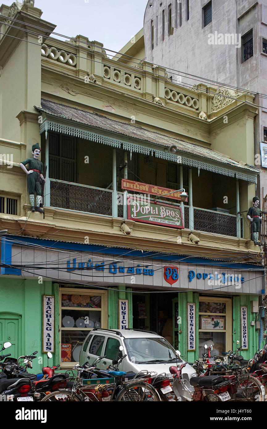 Popli bros, negozio di articoli sportivi, trichy, Tamil Nadu, India, Asia Immagini Stock
