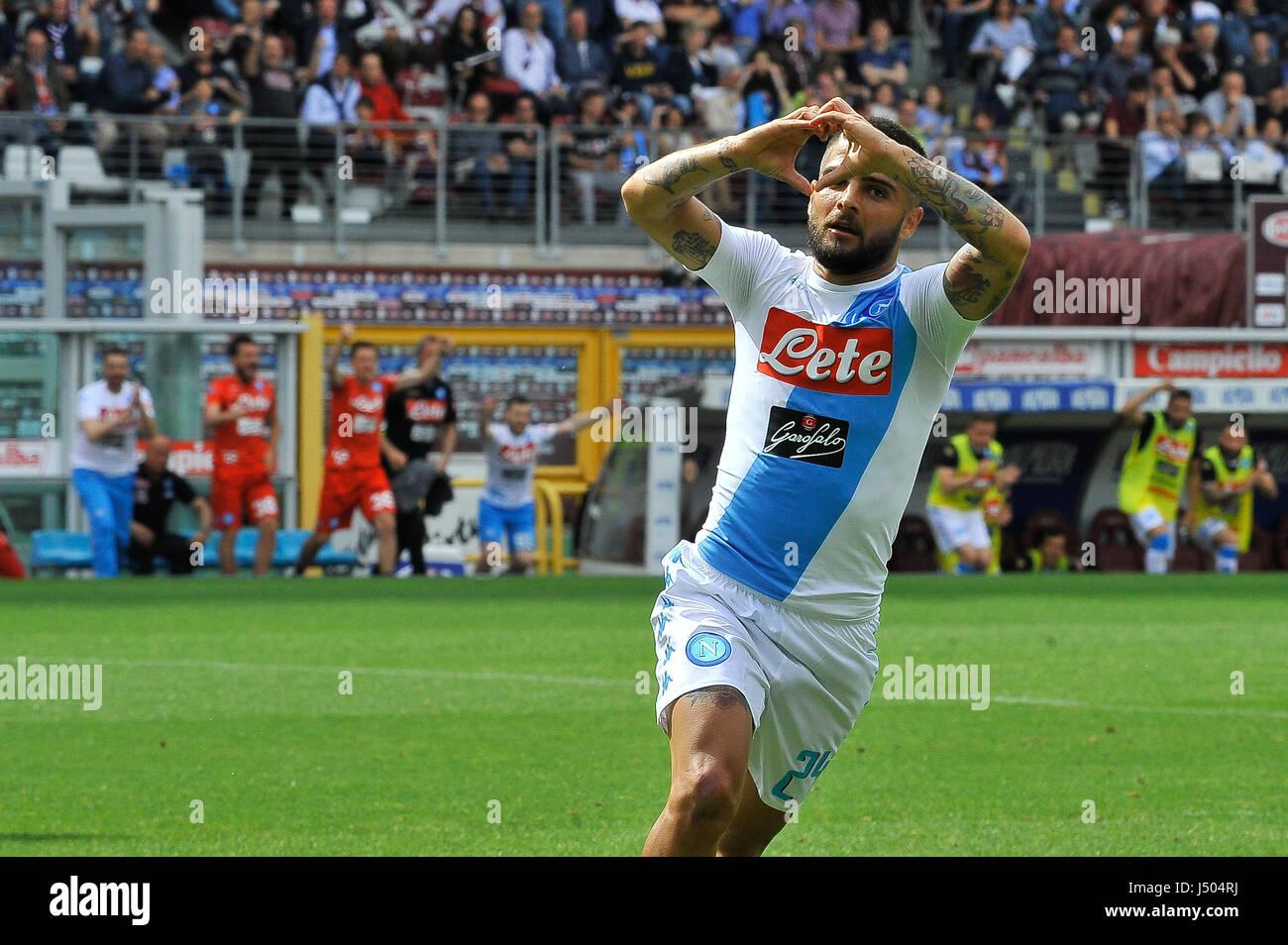 Torino, Italia. 14 Maggio, 2017. Lorenzo Insigne durante il match di Serie A TIM tra Torino FC e SSC Napoli presso Immagini Stock