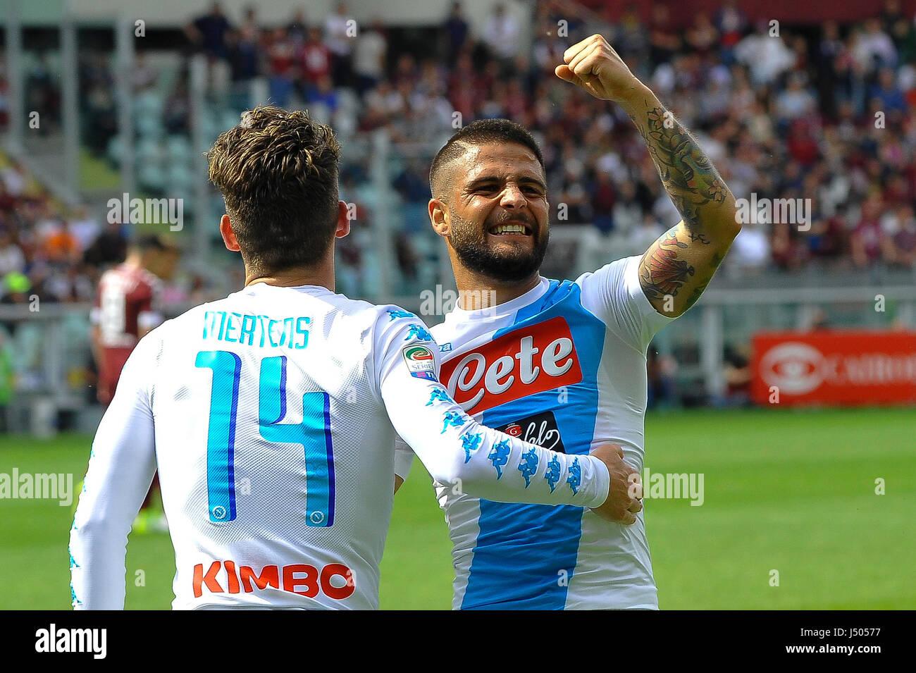 Torino, Italia. 14 Maggio, 2017. Lorenzo Insigne e Mertens durante il match di Serie A TIM tra Torino FC e SSC Napoli Immagini Stock