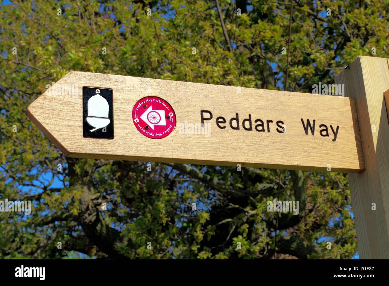 Modo Peddars sentiero, dito post, segno, Acorn Trust, percorso ciclabile, Ringstead, Norfolk, Inghilterra, Inglese Immagini Stock