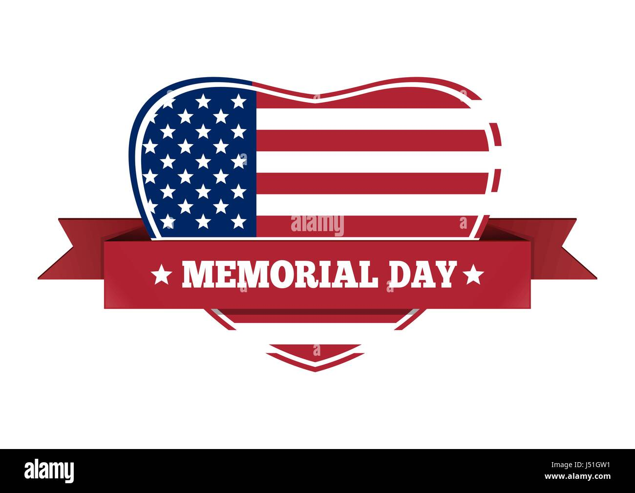 Il Memorial Day design. Noi bandiera a forma di cuore Immagini Stock