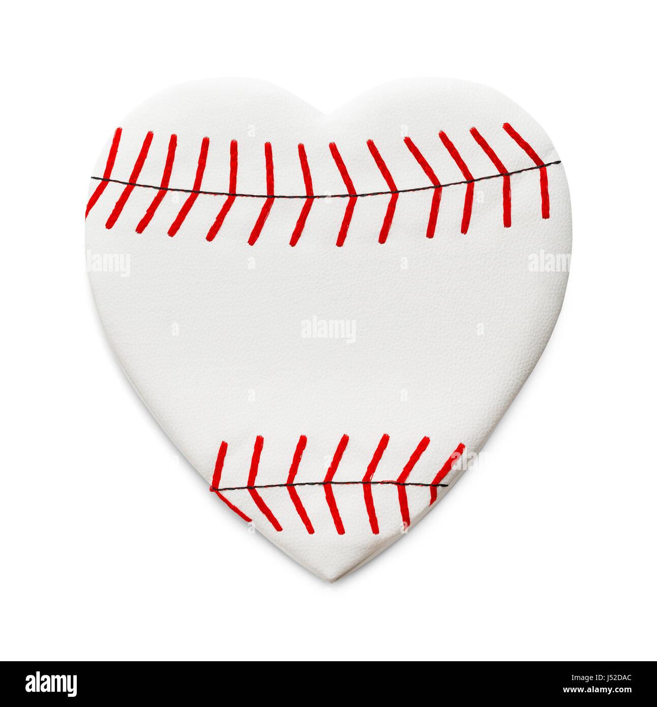 A forma di cuore isolato di baseball su sfondo bianco. Immagini Stock
