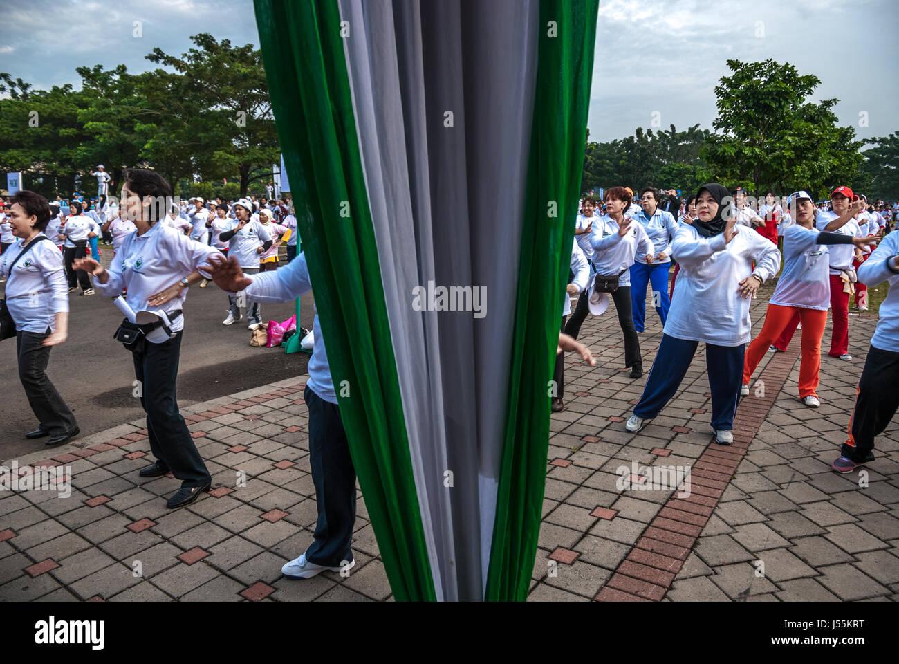 I cittadini anziani eseguire esercizi di massa come parte del 2008 Giornata Mondiale della Salute celebrazioni a Immagini Stock