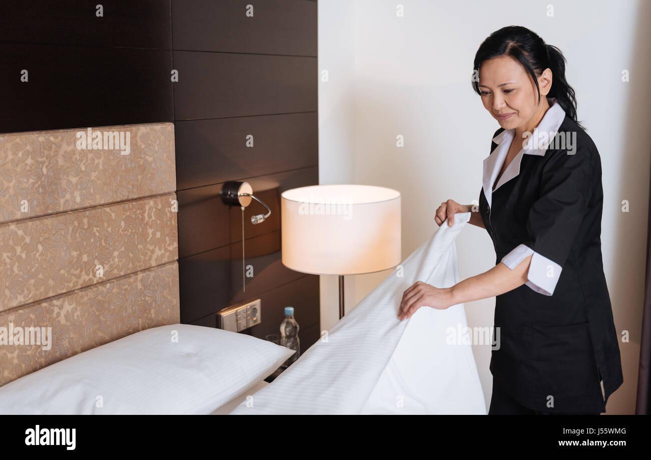 Disco di lavoro professionale hotel maid facendo i suoi doveri Immagini Stock