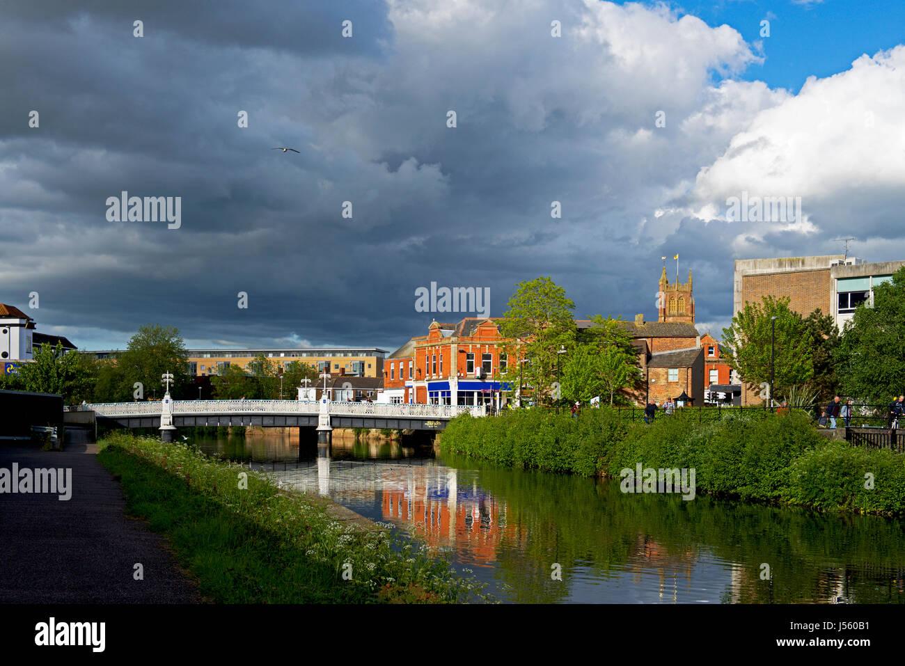 Il tono di fiume in Taunton, Somerset, Inghilterra, Regno Unito Immagini Stock