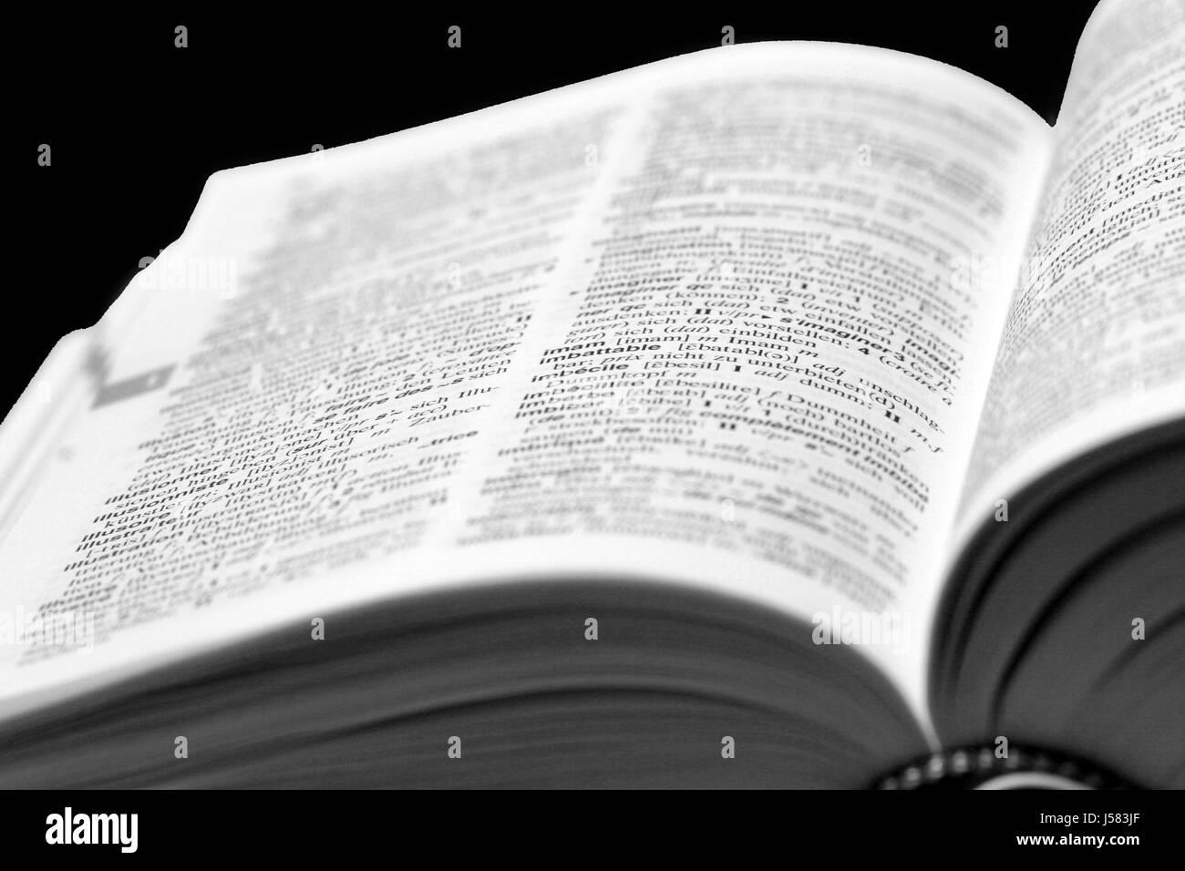Scrittura lessicale font tipografici dizionario tedesco lingue di trasmissione Immagini Stock
