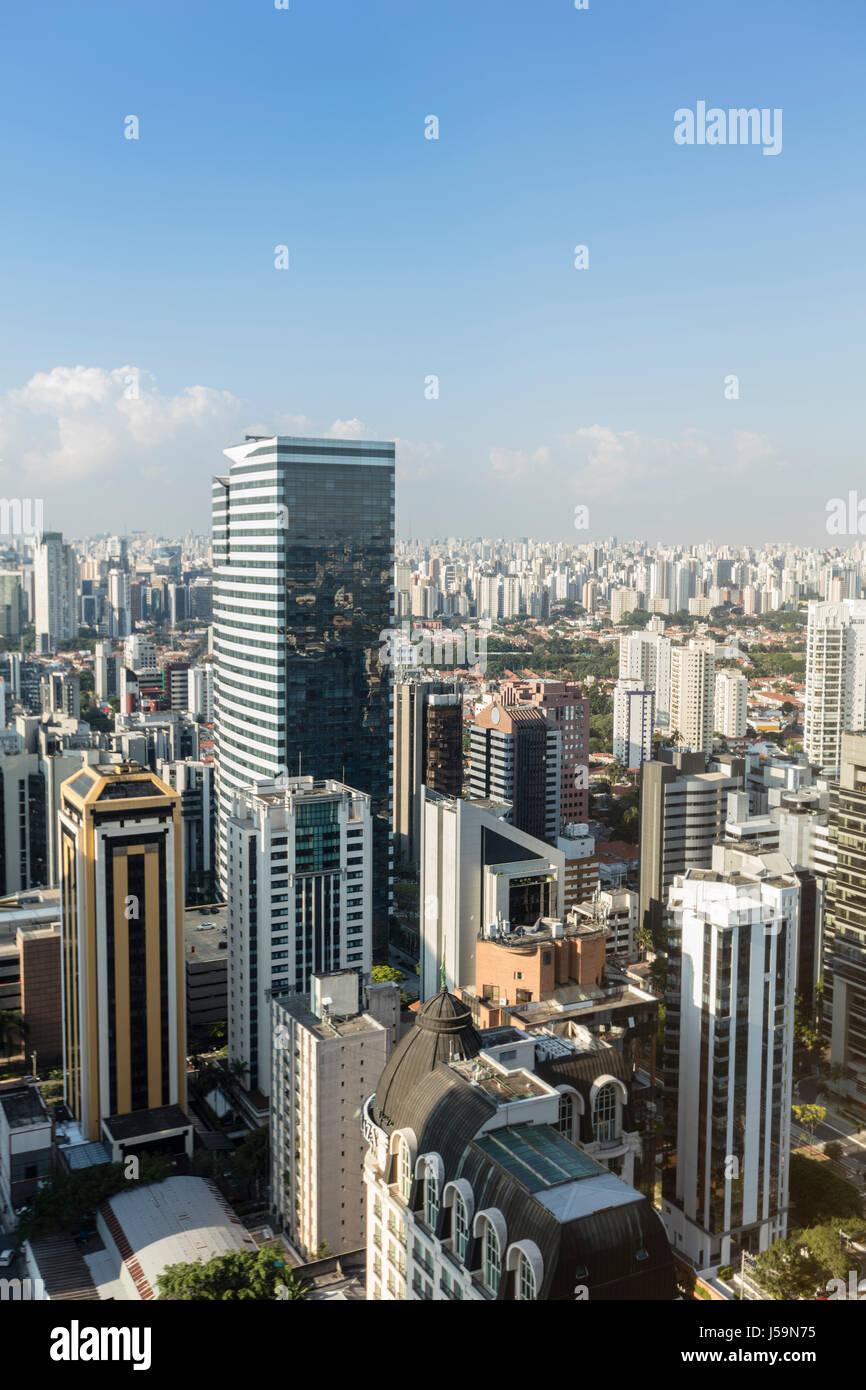 Sao Paulo nuovo centro città intorno a Faria Lima Avenue e Vila Olimpia Immagini Stock