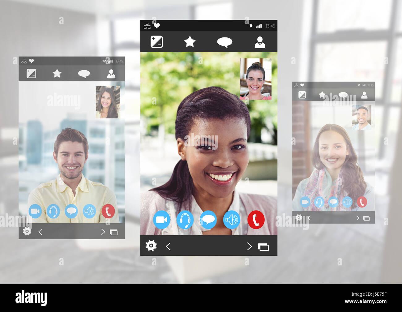 Composito Digitale dei Social Video Chat interfaccia App Immagini Stock