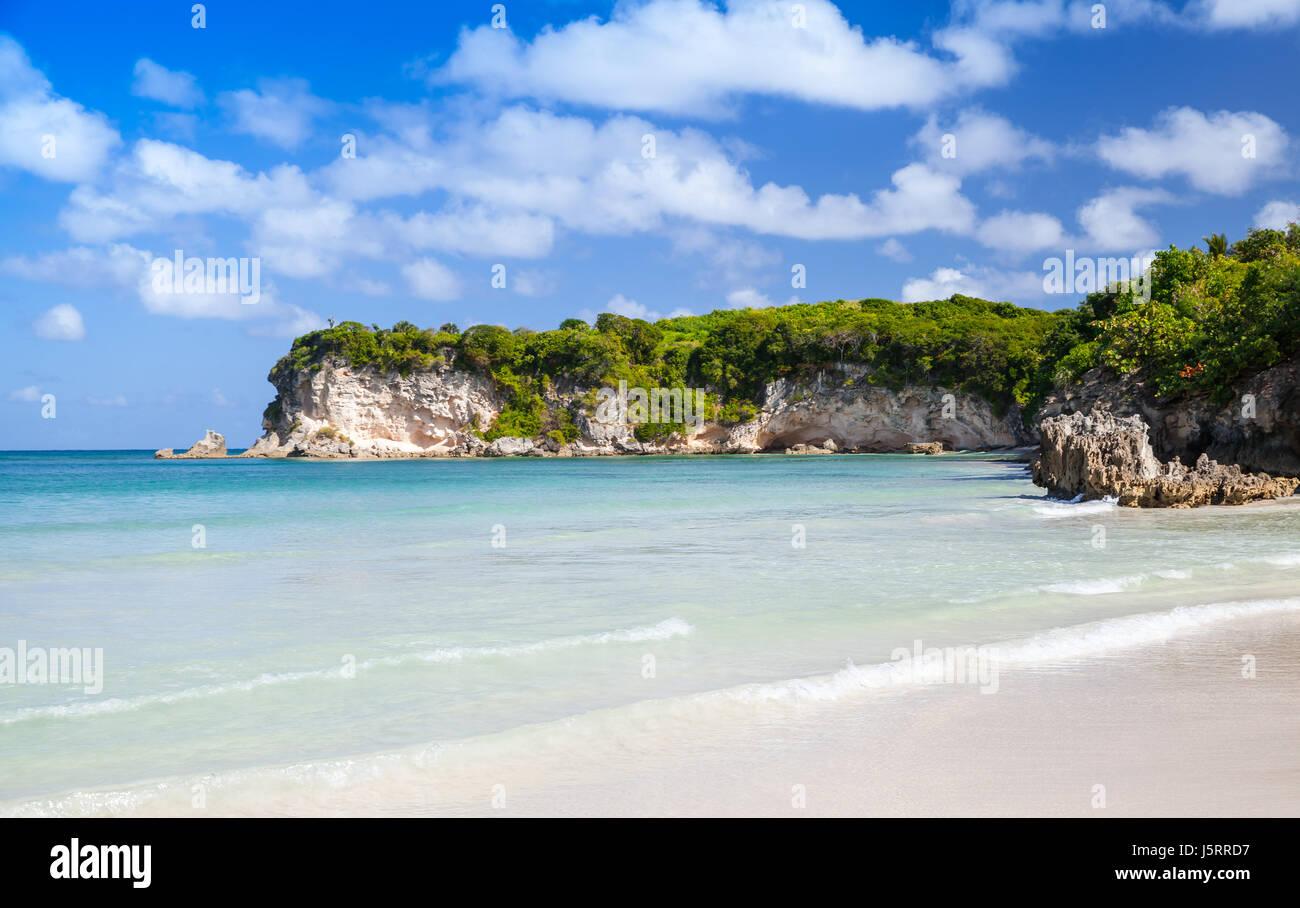 Paesaggio della spiaggia di Macao, popolare località turistica della Repubblica Dominicana, isola Hispaniola Immagini Stock