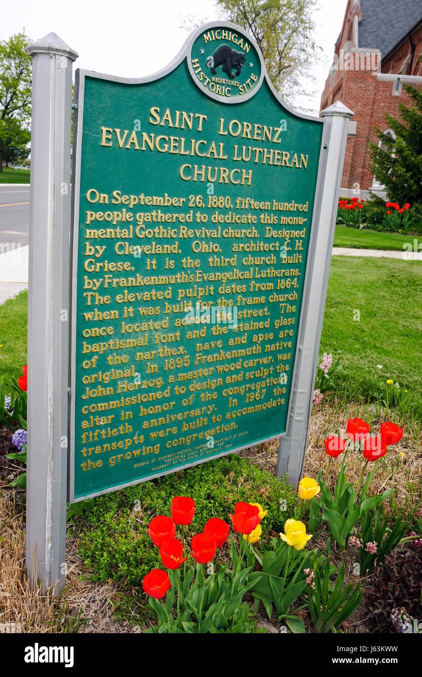 Michigan Frankenmuth Chiesa evangelica luterana di San San Lorenzo sito storico di religione il Cristianesimo marcatore Immagini Stock