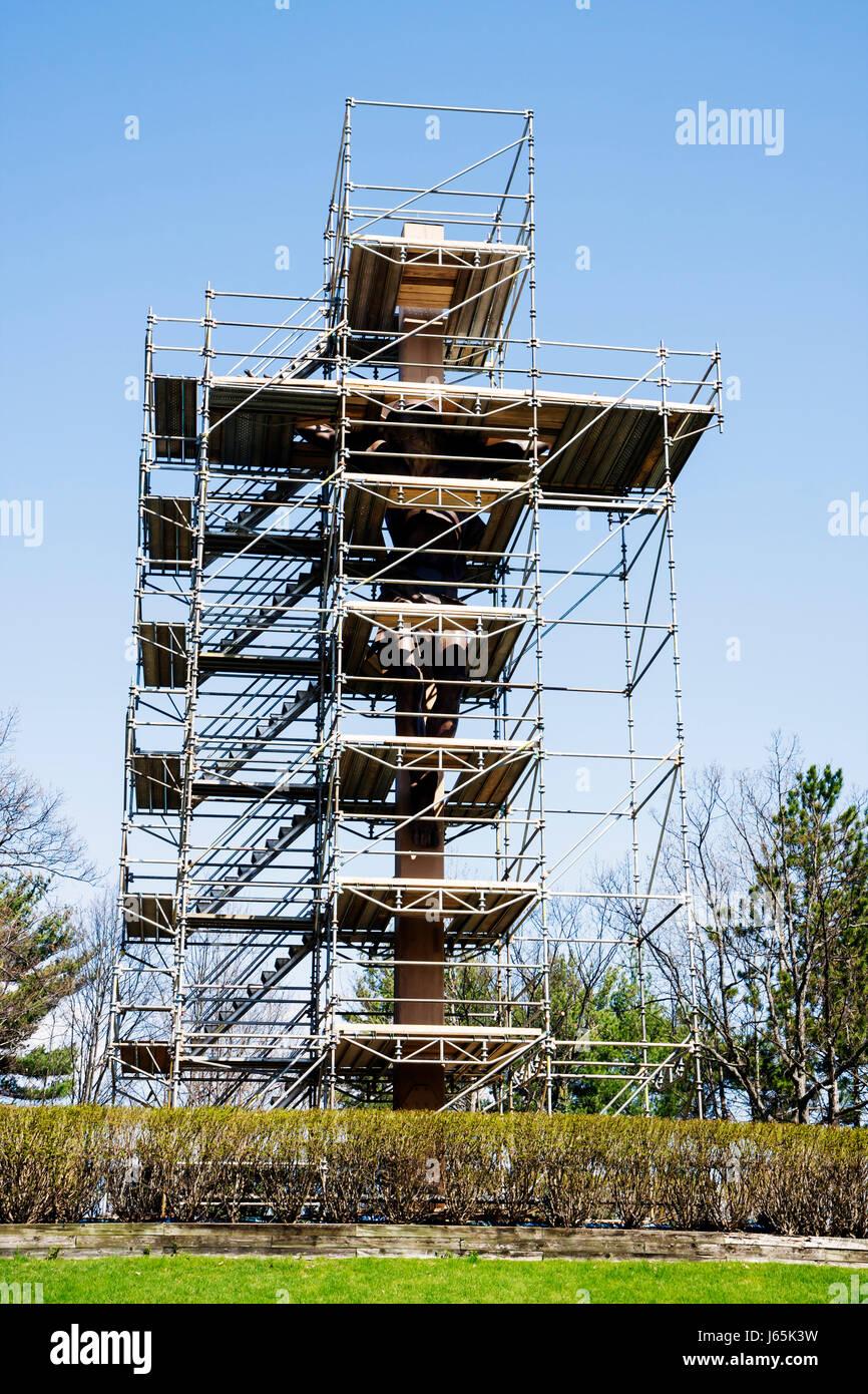 Michigan Indian River Santuario Nazionale della Croce nei boschi di religione chiesa cattolica cristianesimo ristrutturazione Immagini Stock
