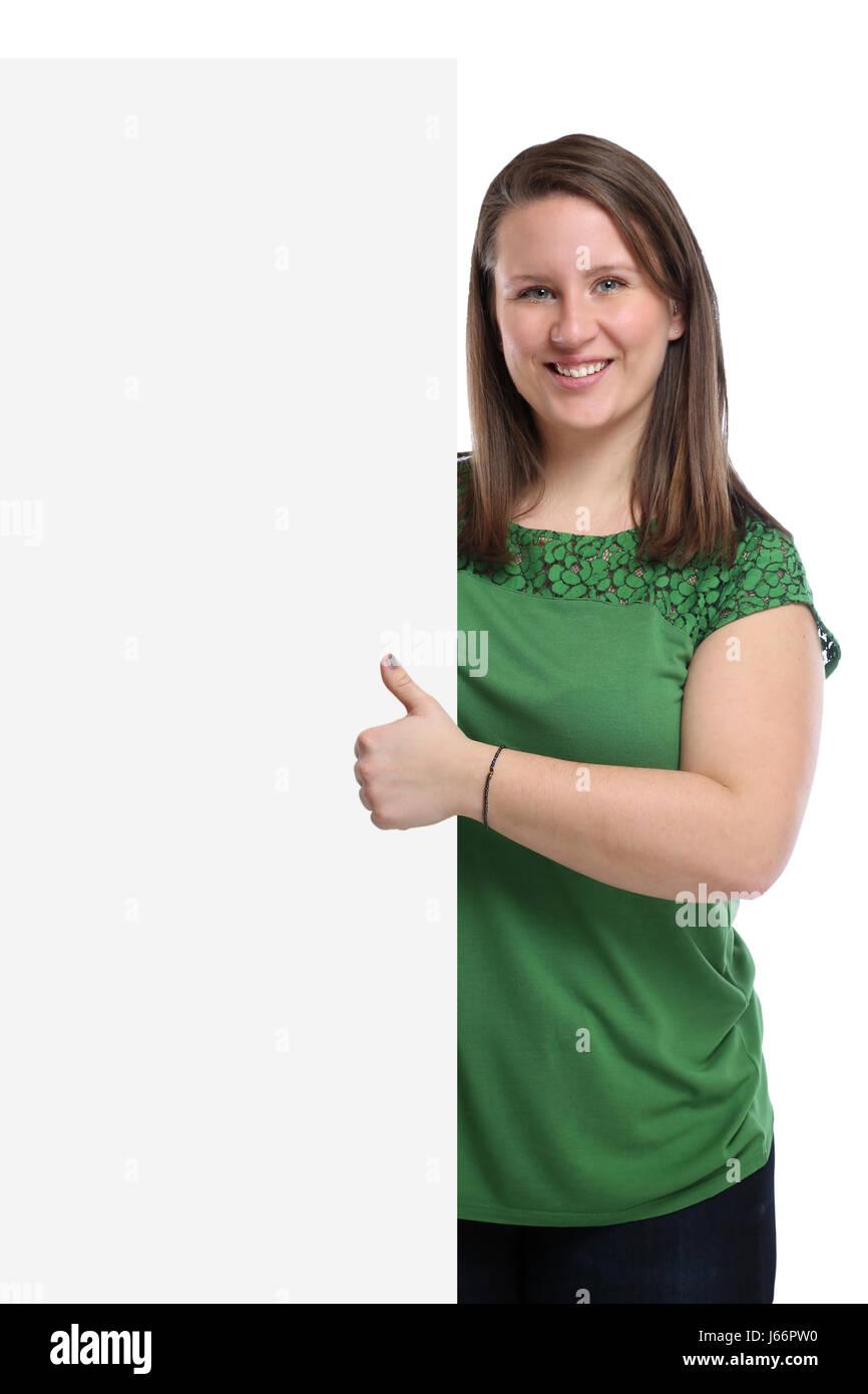 Giovane donna Thumbs up copia copyspace space marketing persone vuoto segno bianco isolato su uno sfondo bianco Immagini Stock
