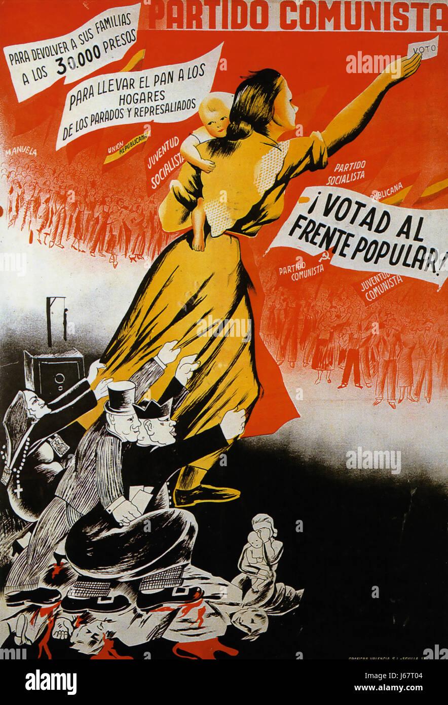 Guerra civile spagnola poster comunista per il 1936 elezioni di febbraio invitando la gente a votare per il fronte Immagini Stock