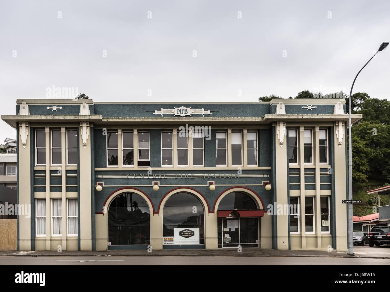 Napier, Nuova Zelanda - 9 Marzo 2017: Unione storica stazione dei vigili del fuoco è una forma rettangolare Immagini Stock