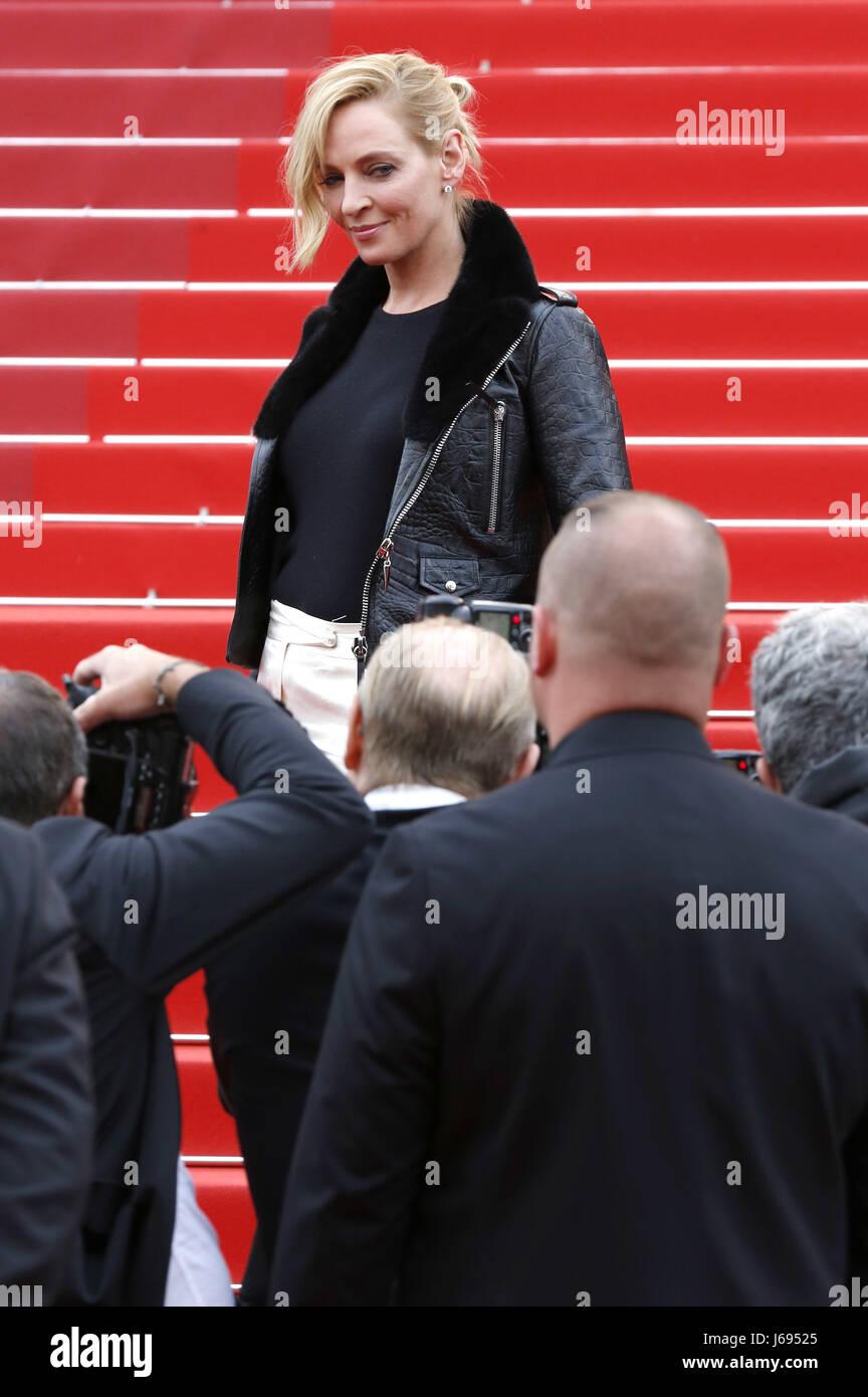 Uma Thurman al 'Nelyubov / Loveless' premiere durante il settantesimo Cannes Film Festival presso il Palais Immagini Stock