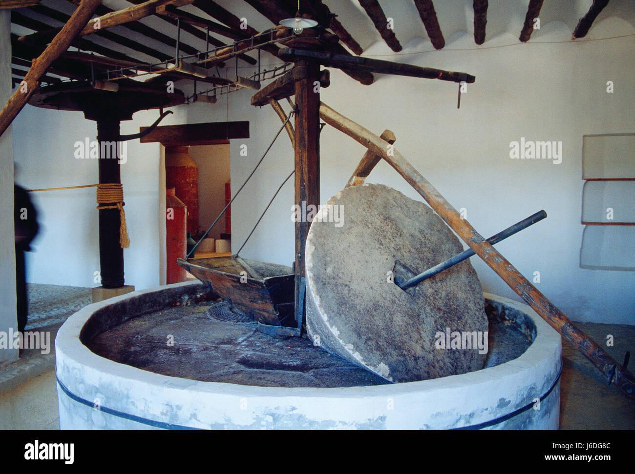 Alori frantoio. Cultura del museo di olivo, Baeza, Provincia di Jaen, Andalusia. Immagini Stock