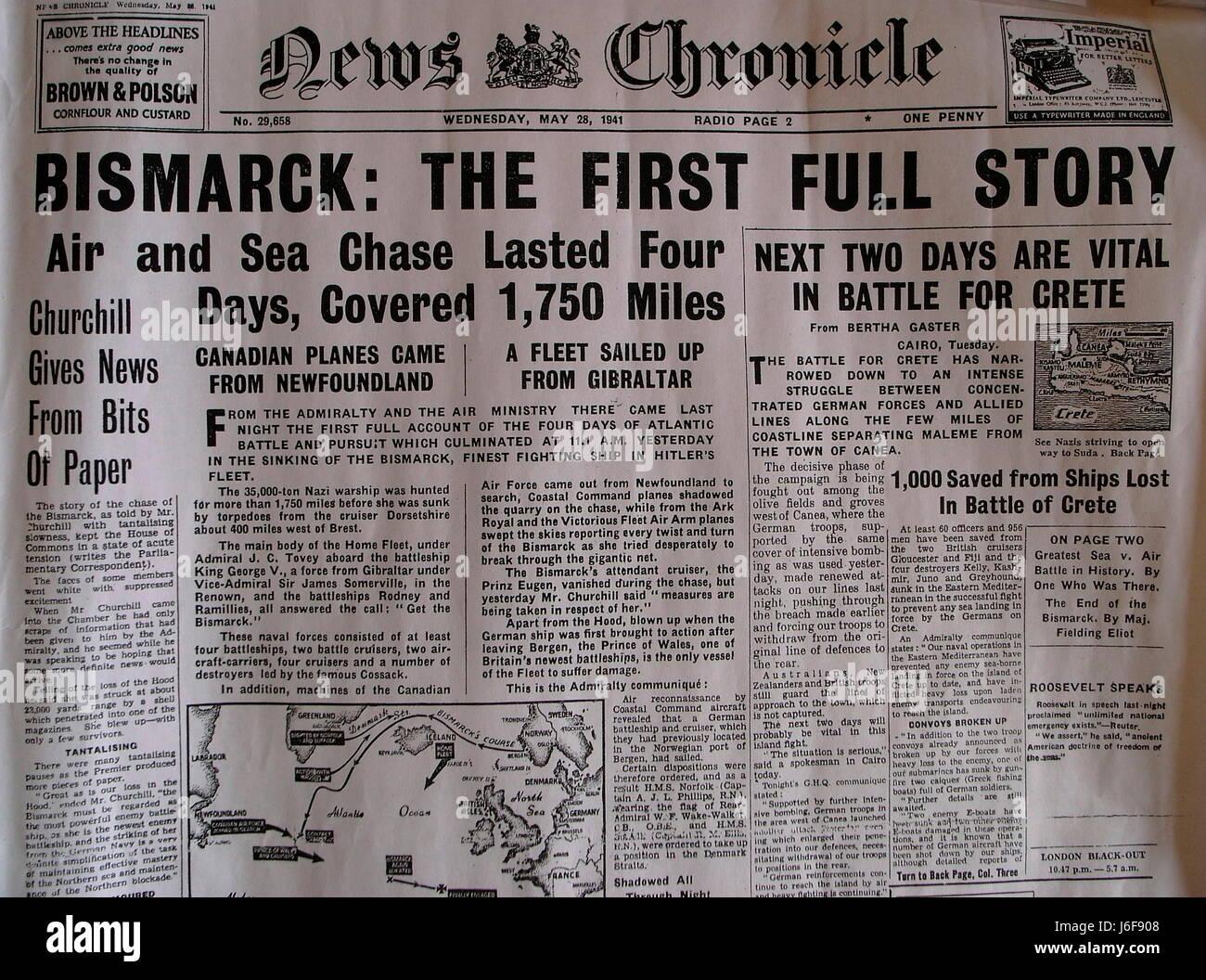 AJAXNETPHOTO. 4aprile, 2009. WORTHING,Inghilterra. - HEADLINE NEWS - Come le notizie di cronaca del 28 maggio 1941 Immagini Stock