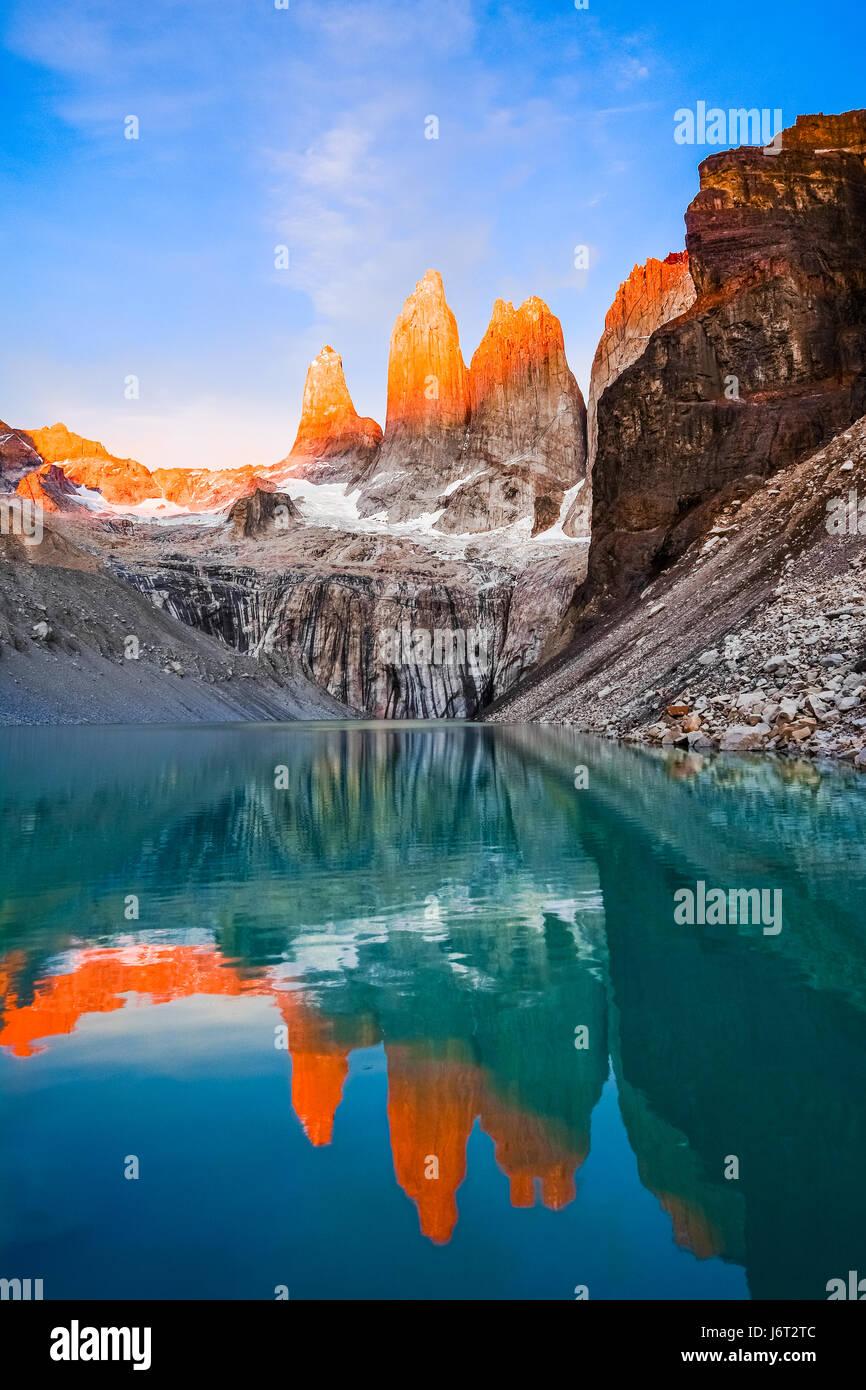 Parco Nazionale di Torres del Paine, Patagonia, Cile Immagini Stock