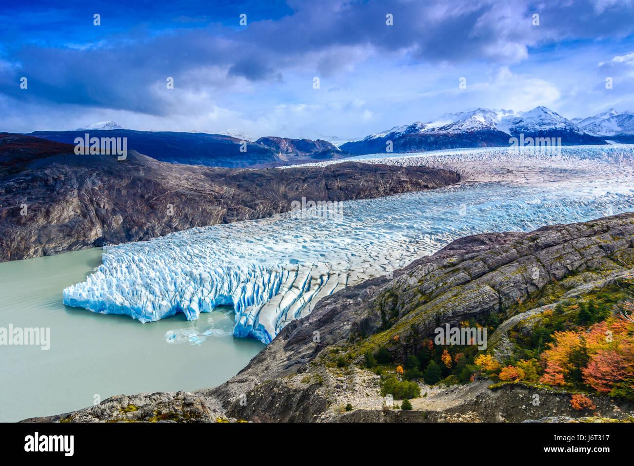 Ghiacciaio grey,Patagonia Cile - un ghiacciaio in Patagonia meridionale del campo di ghiaccio, la Cordigliera del Immagini Stock