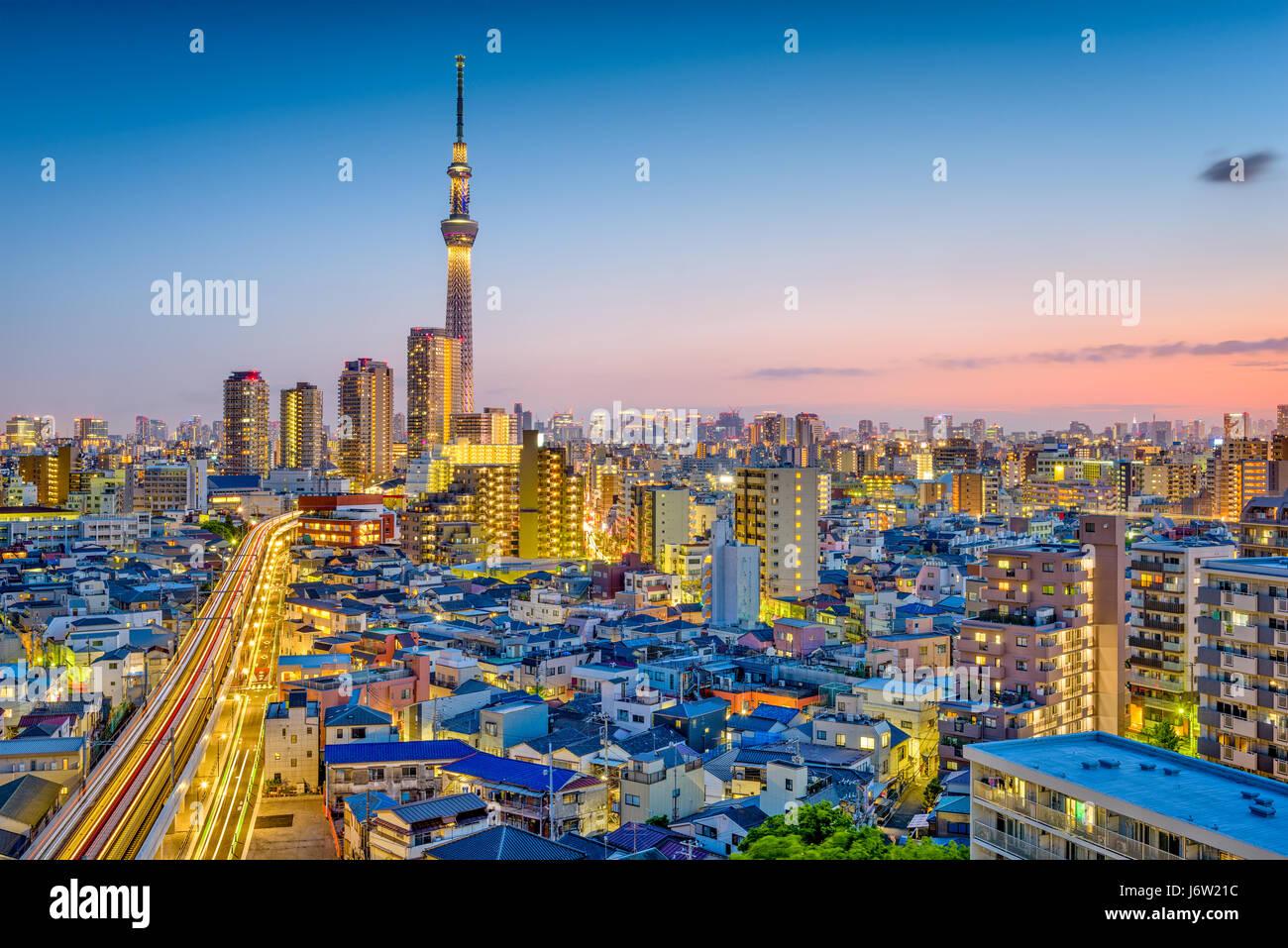 Tokyo, Giappone Sumida skyline. Immagini Stock