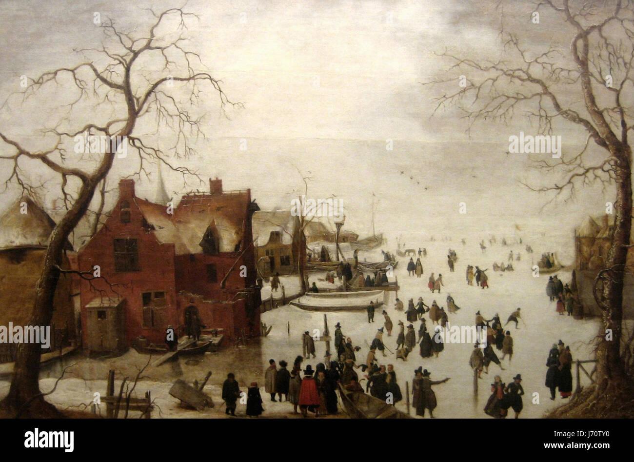 """Hendrick Avercamp, c. 1620 """"Scena d'Inverno' olio su pannello dipinto Immagini Stock"""