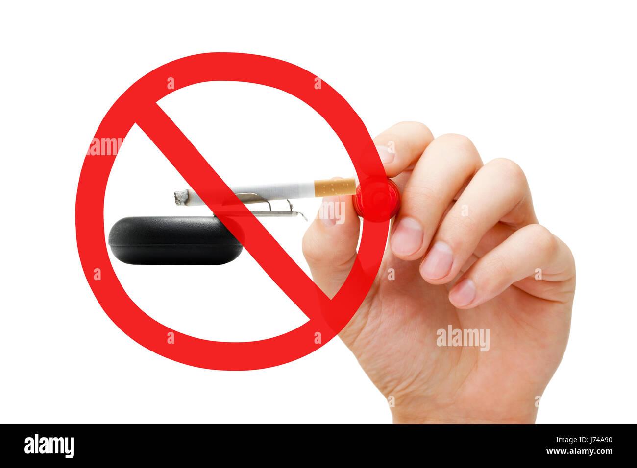 Disegno A Mano Nessun Divieto Di Fumo Segno Concetto Sul Posacenere