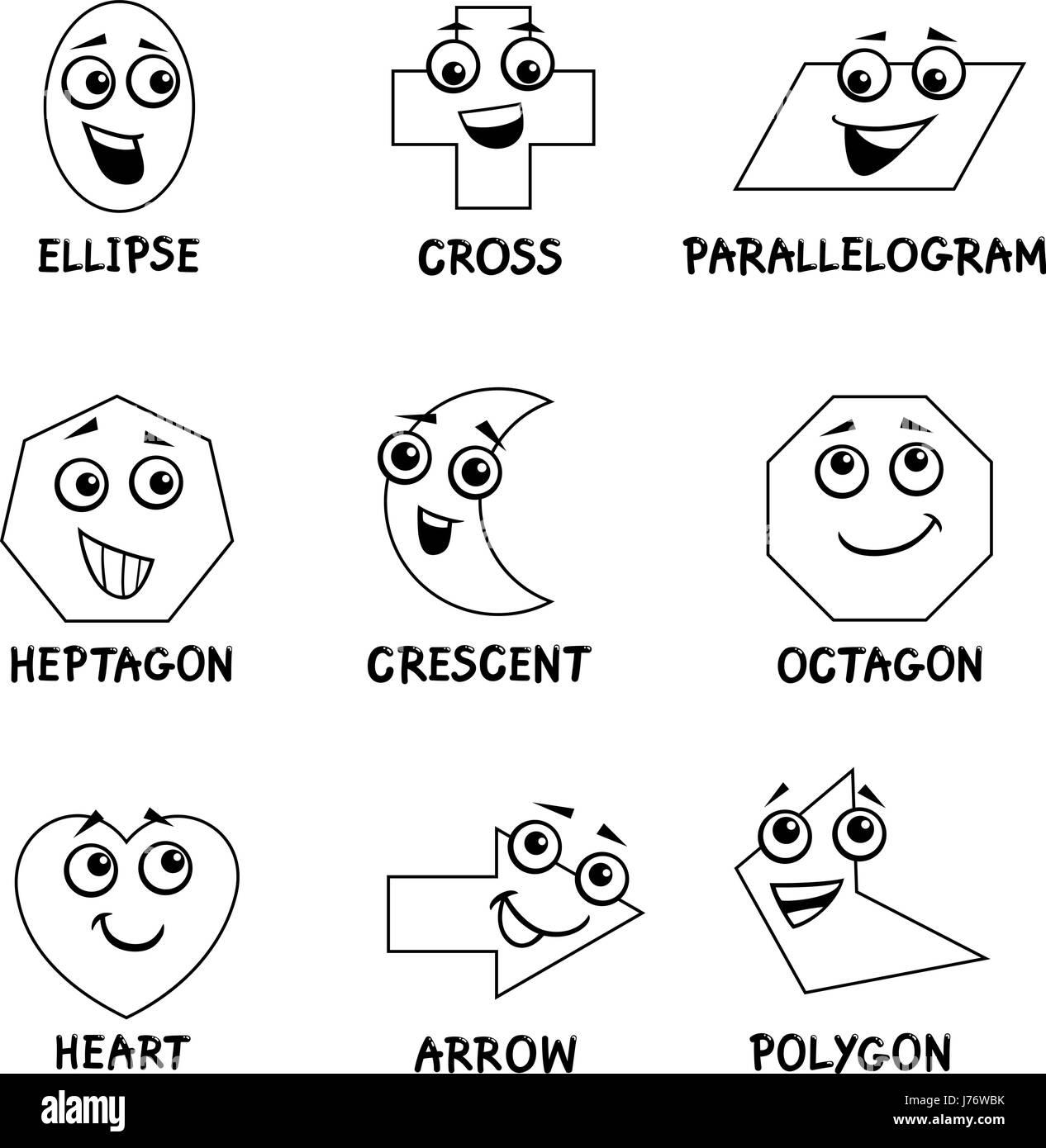 Bianco E Nero Cartoon Illustrazione Delle Forme Geometriche Di Base