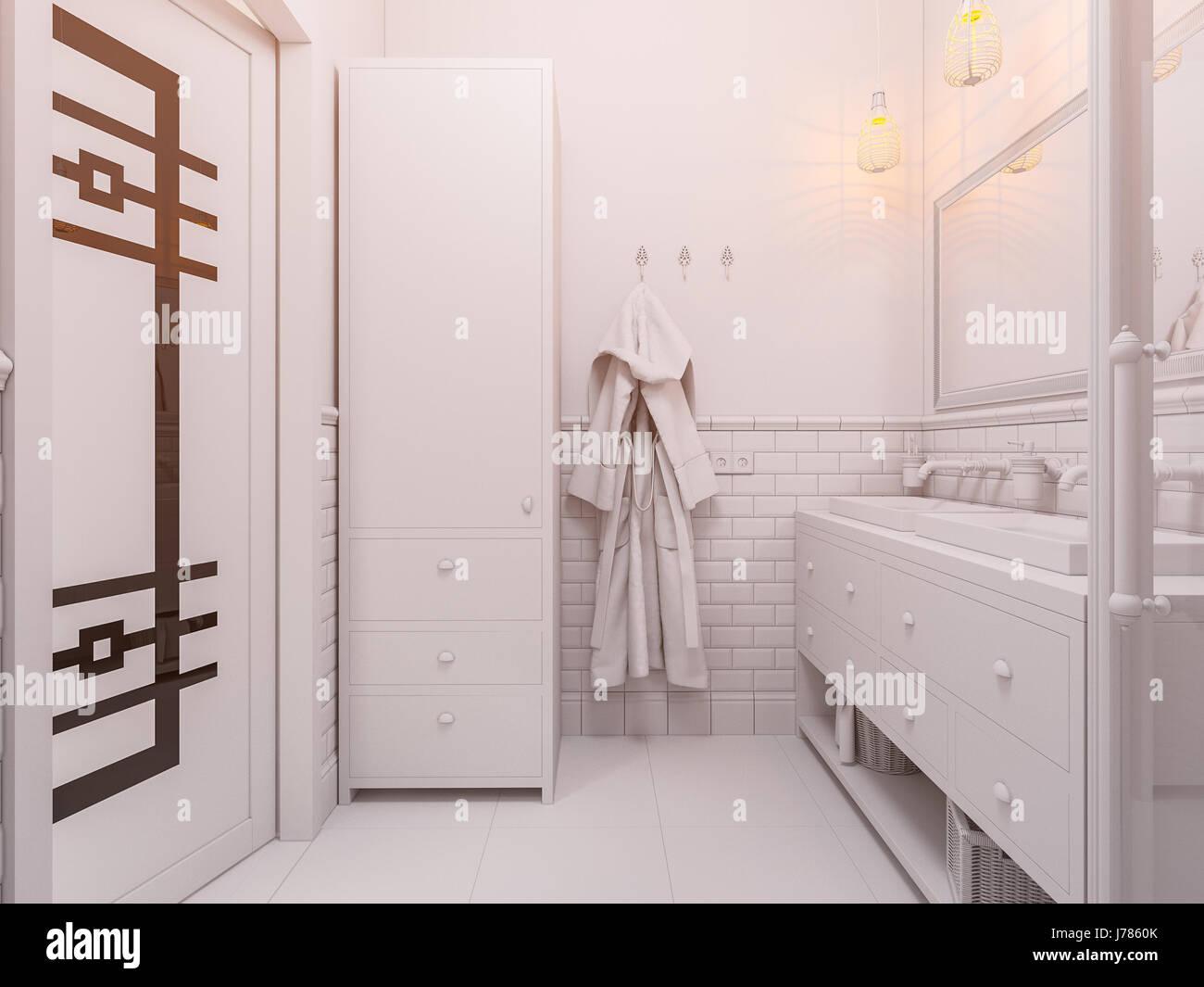 D illustrazione di un bagno di design interno in classico stile