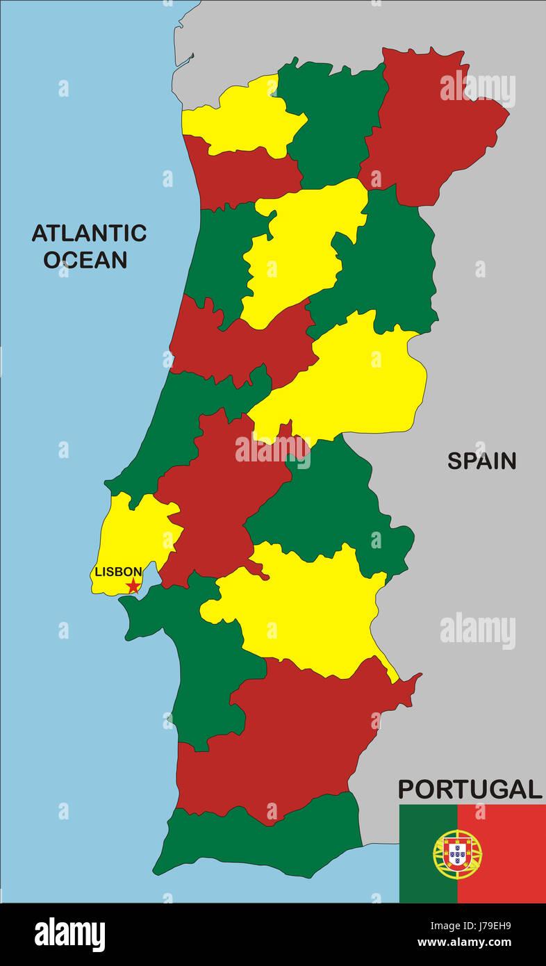 Cartina Politica Del Portogallo.Il Portogallo Mappa Mappa Atlante Del Mondo Illustrazione Politico Bandiera Del Portogallo Foto Stock Alamy