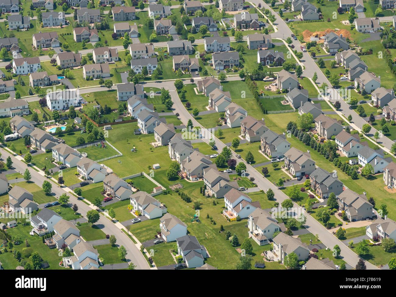 Vista aerea della Pennsylvania Case suburbane di quartiere residenziale  Foto stock - Alamy