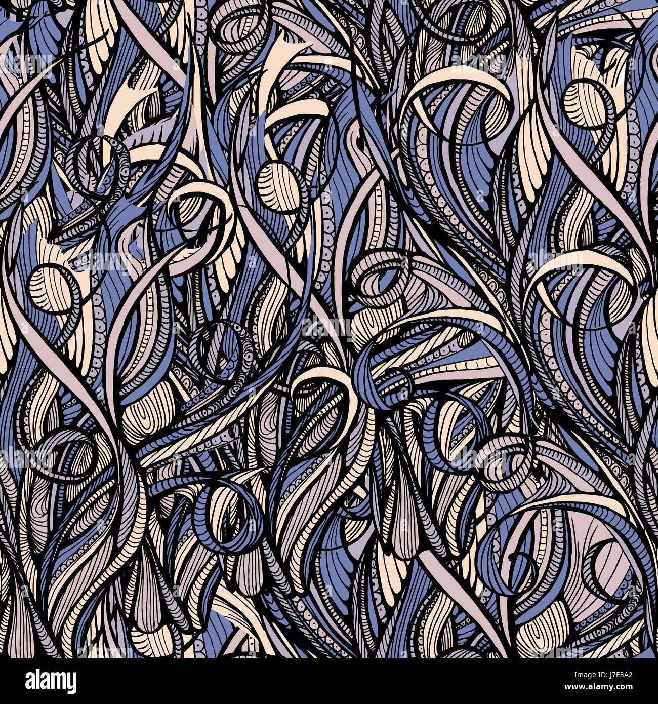 Capelli doodle seamless sfondo - modello infinite Immagini Stock