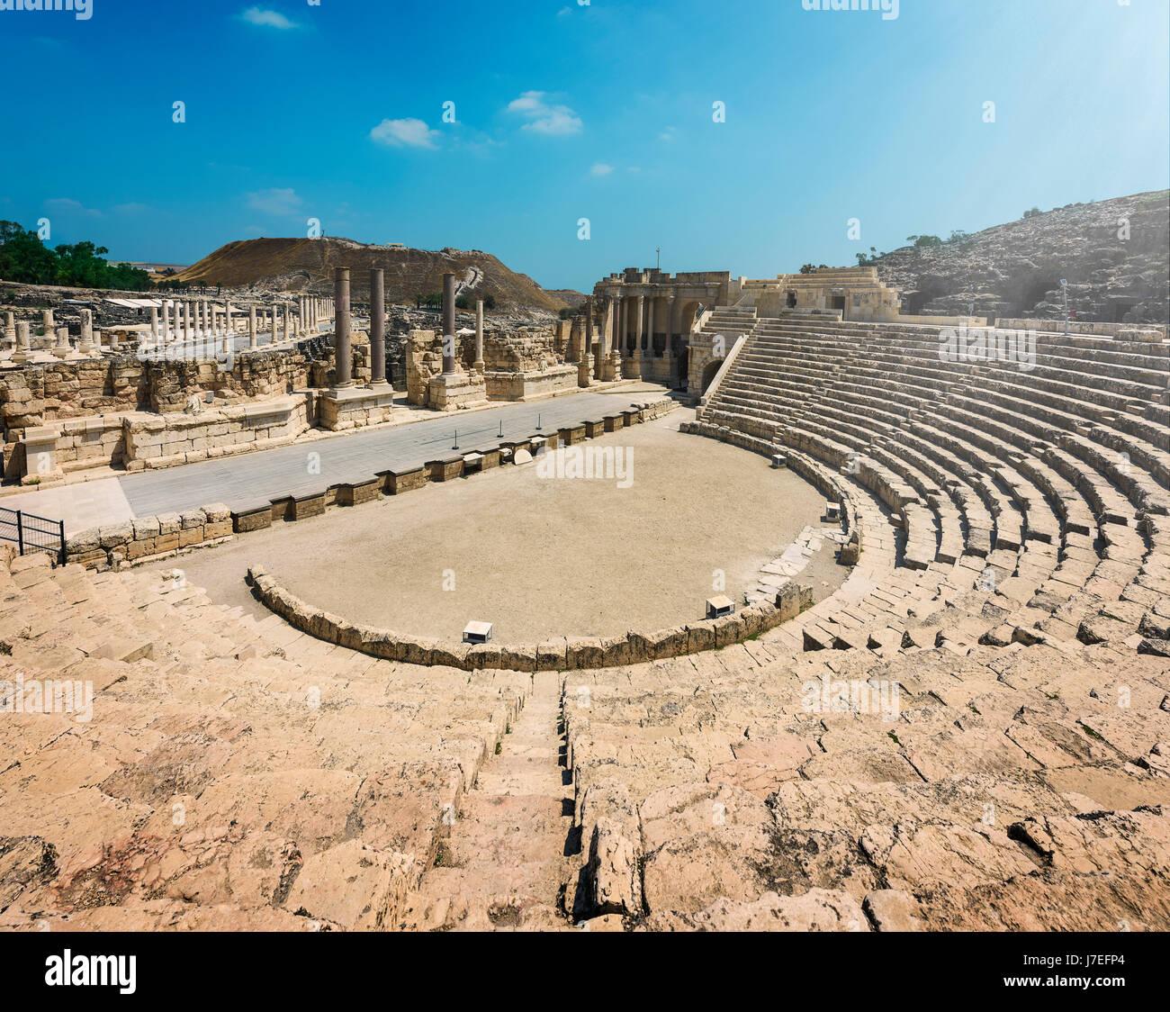Rovine dell antica città romana Bet Shean, Israele Immagini Stock
