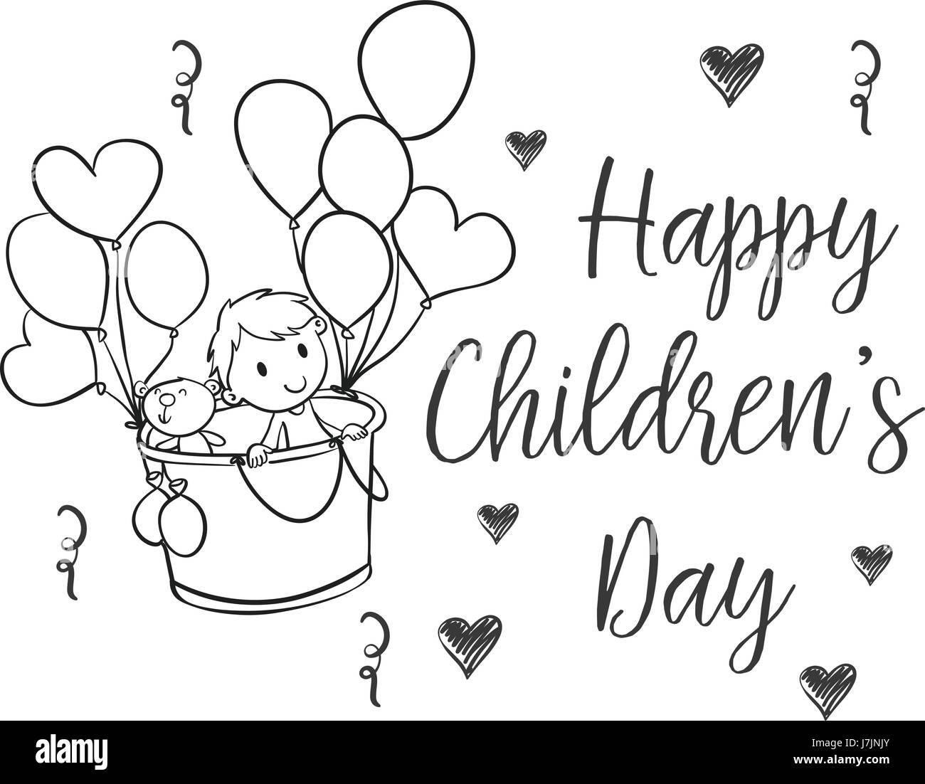 Disegnare a mano la giornata dei bambini scarabocchi Immagini Stock