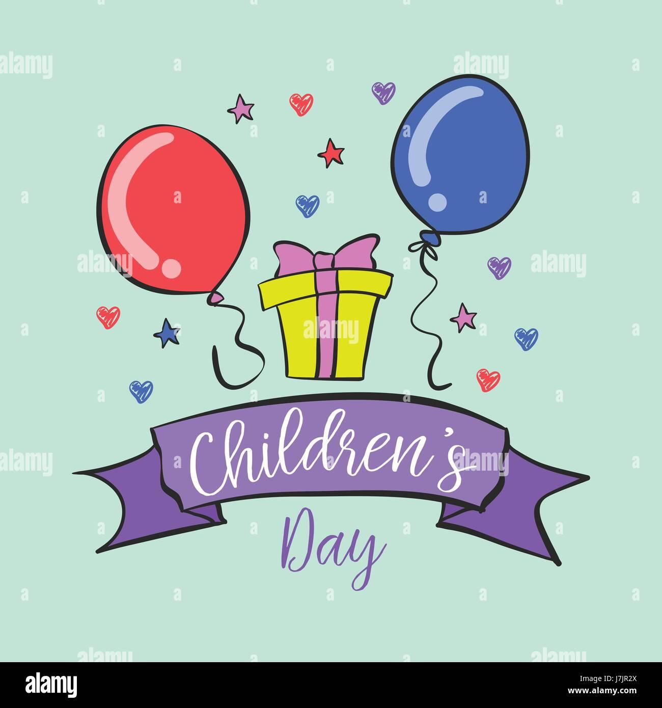 La giornata dei bambini design collection scarabocchi Immagini Stock